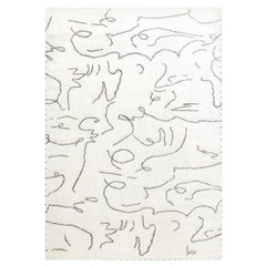 Modernist Jean Cocteau Style White & Black Handwoven Wool Rug