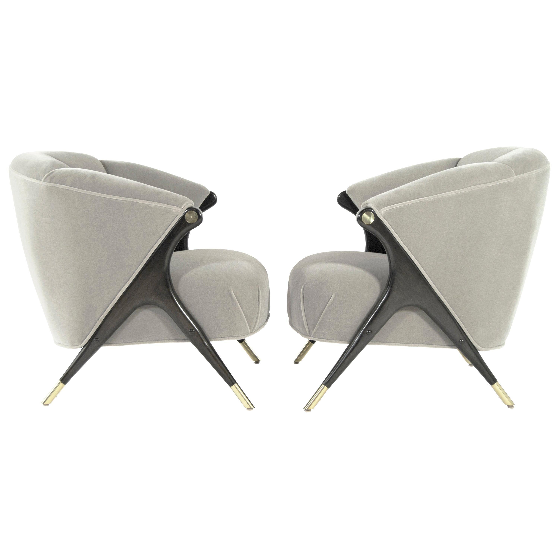 Modernist Karpen Lounge Chairs in Grey Alpaca Velvet, 1950s