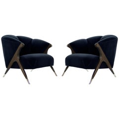 Modernist Karpen Lounge Chairs in Navy Velvet, 1950s