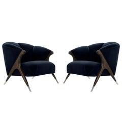 Modernist Karpen Lounge Chairs in Navy Velvet, 1950s