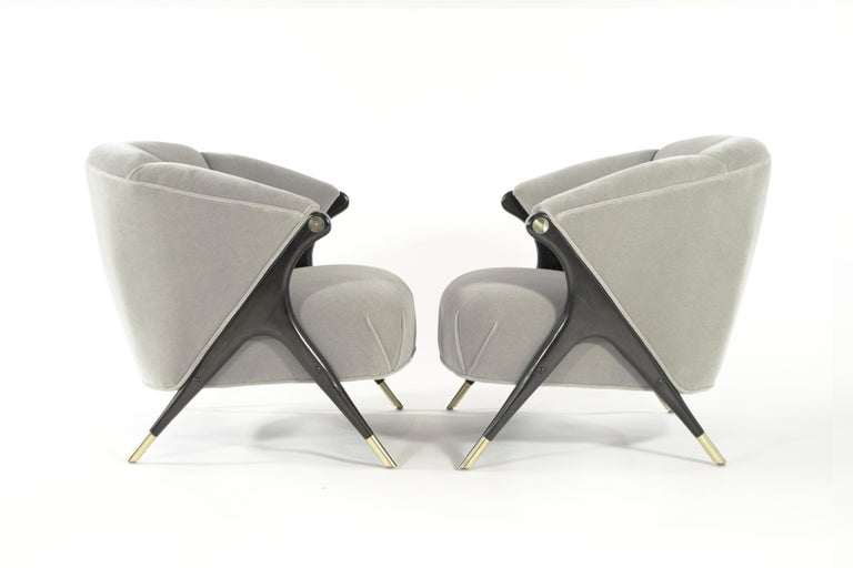 American Modernist Karpen Lounge Chairs in Taupe Mohair, 1950s For Sale