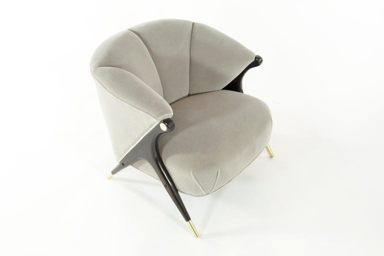 Brass Modernist Karpen Lounge Chairs in Taupe Mohair, 1950s For Sale