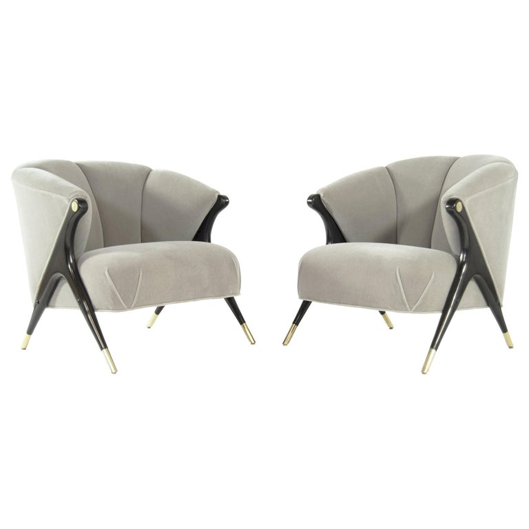 Modernist Karpen Lounge Chairs in Taupe Mohair, 1950s For Sale