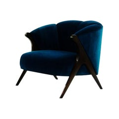 Modernist Karpen Style Barrel Club Chair in Blue Velvet