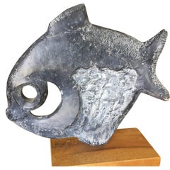 Modernist Klara Sever for Austin Productions Black Abstract Fish Sculpture