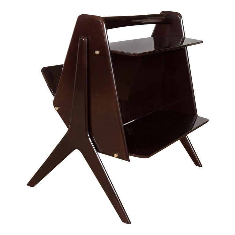 Modernist Lacquered Wood End Table For Sale