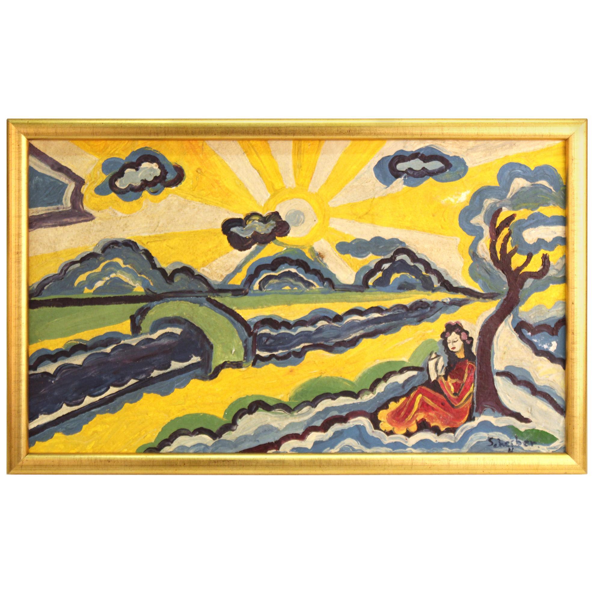 Modernist Landscape Painting Attributed to Hugo Scheiber