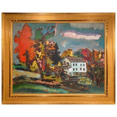 Modernist Landscape Painting by Sterling Strauser Oil on Board