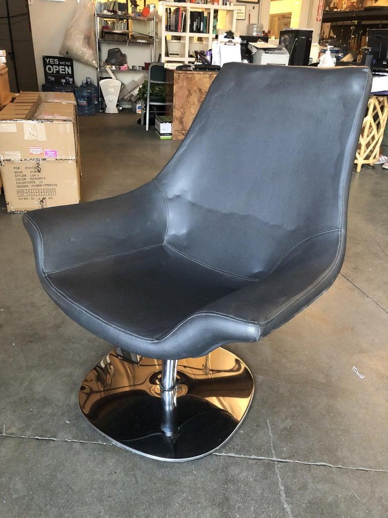 Italian Modernist Leather Captian's Lounge Chair with Chrome Base, Circa 1980 For Sale