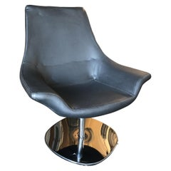 Modernist Leather Captian's Lounge Chair with Chrome Base, Circa 1980