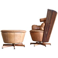 Modernist Leather Swivel Chair and Ottoman by Pacific Green