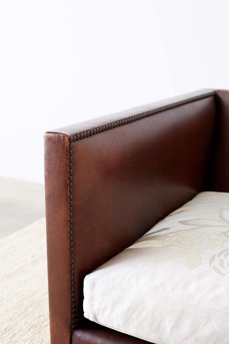 Modernist Leather Three-Seat Case Sofa 5