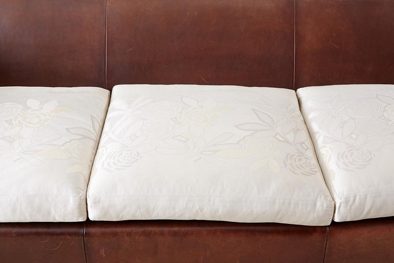 Modernist Leather Three-Seat Case Sofa 7