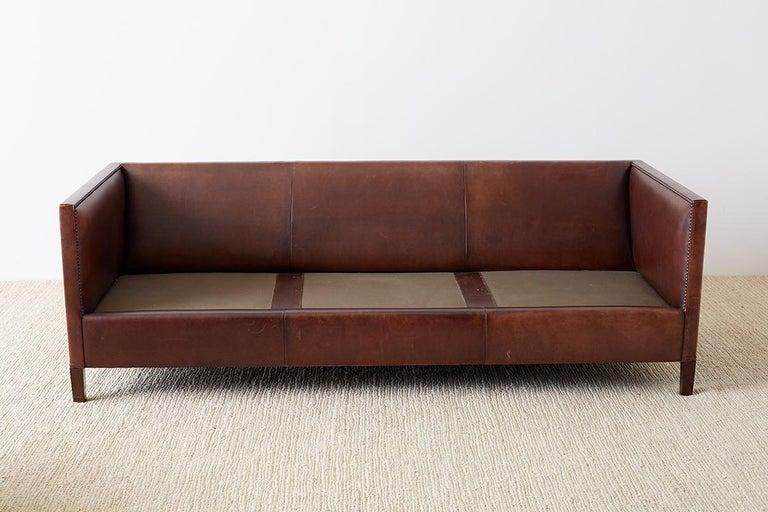 Modernist Leather Three-Seat Case Sofa 8