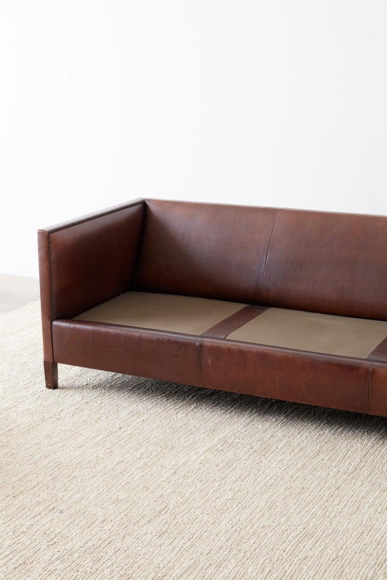 Modernist Leather Three-Seat Case Sofa 9