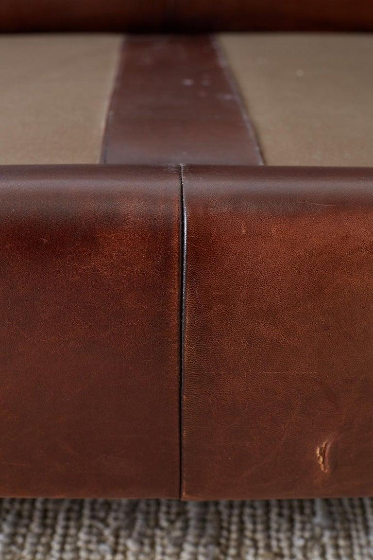 Modernist Leather Three-Seat Case Sofa 10