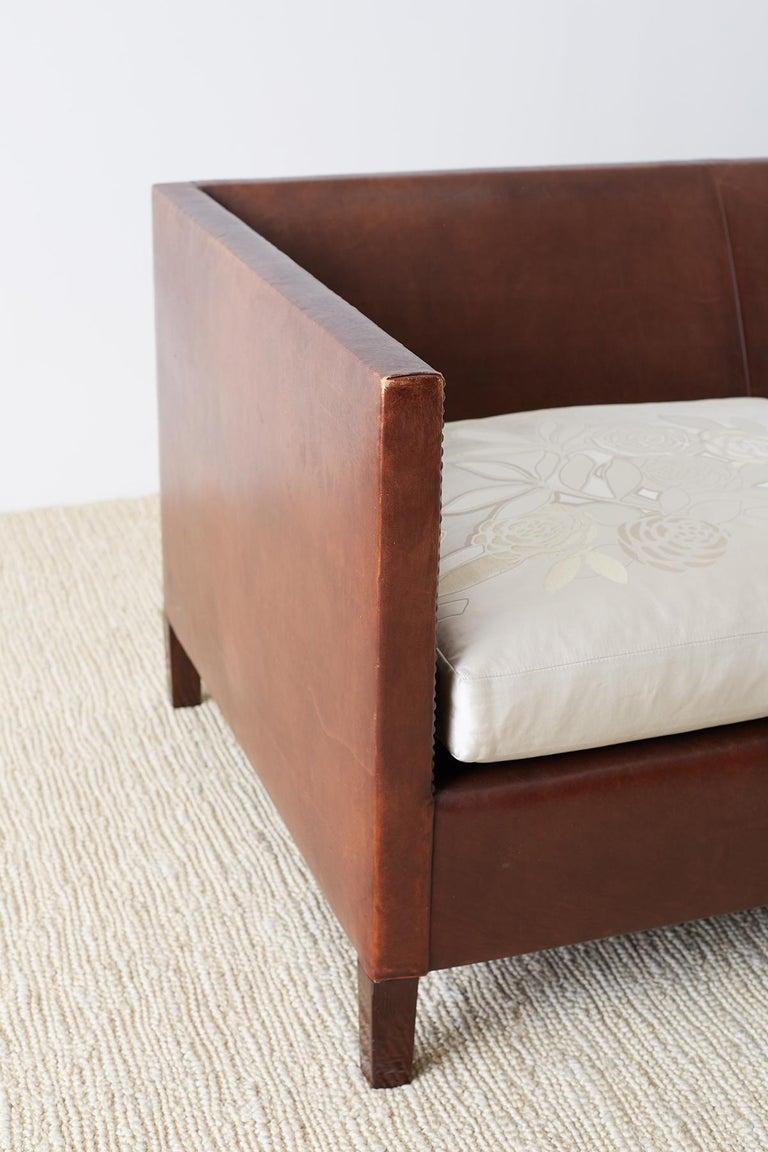 Modernist Leather Three-Seat Case Sofa 11