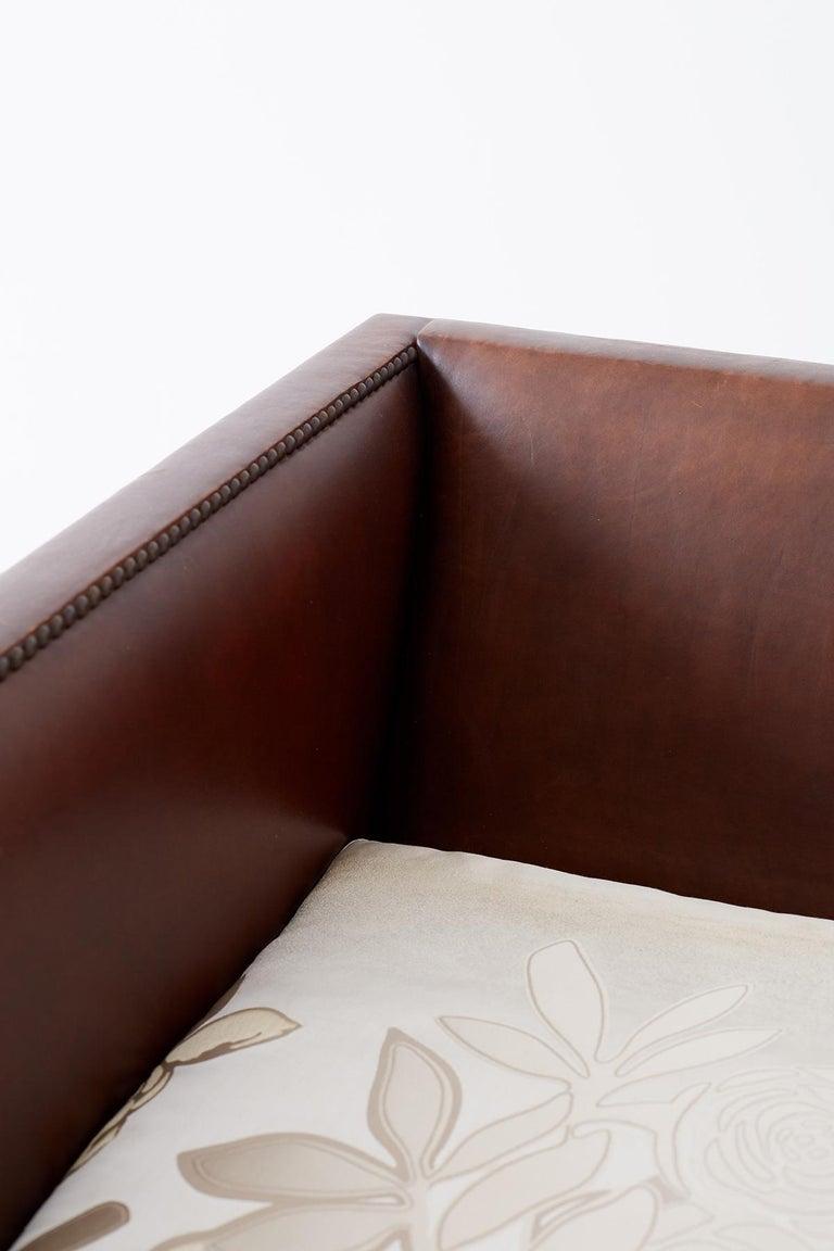 Modernist Leather Three-Seat Case Sofa 12