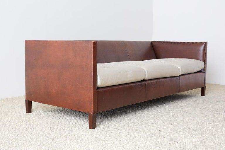American Modernist Leather Three-Seat Case Sofa