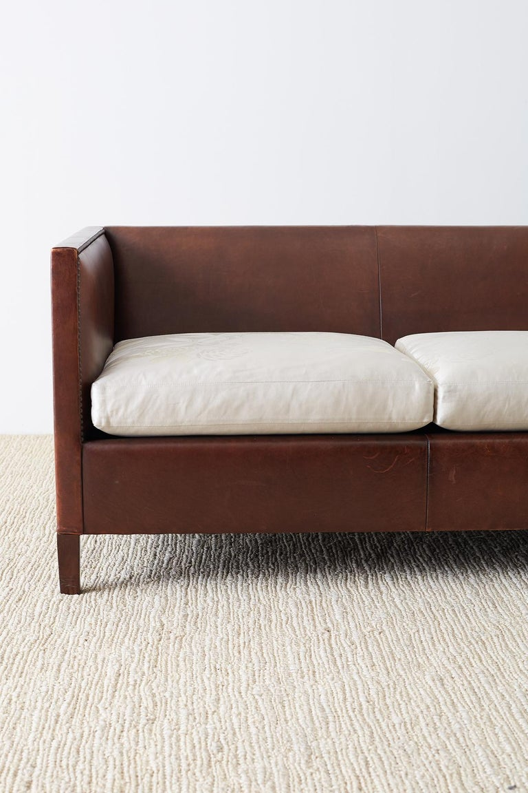 Hand-Crafted Modernist Leather Three-Seat Case Sofa