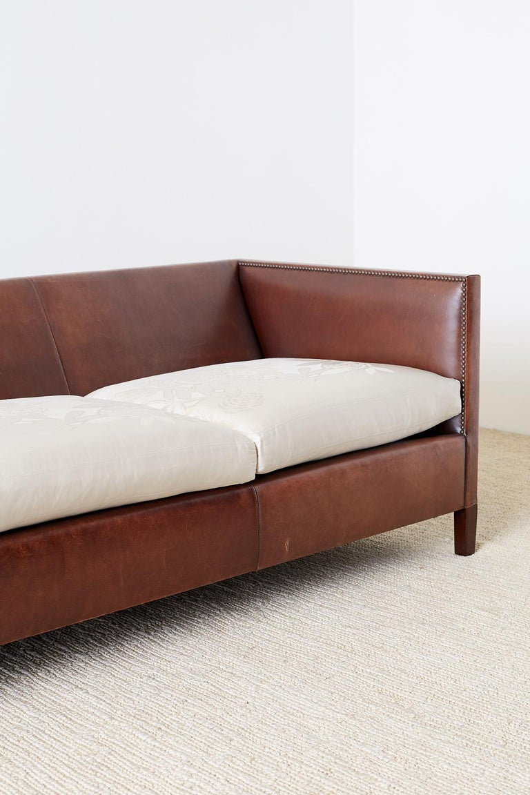 20th Century Modernist Leather Three-Seat Case Sofa