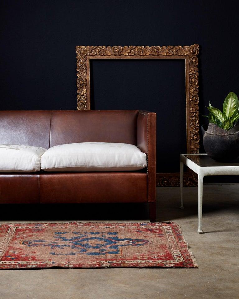Brass Modernist Leather Three-Seat Case Sofa