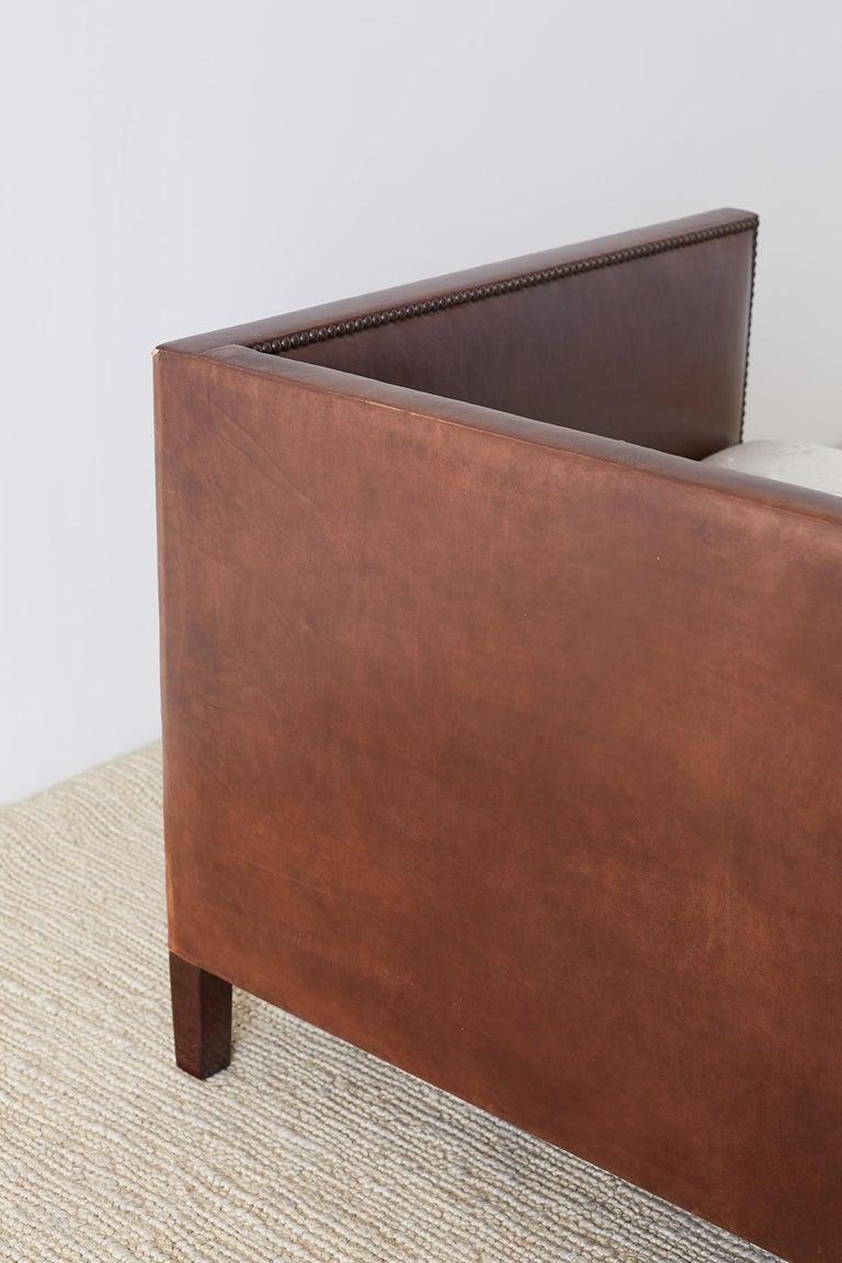 Modernist Leather Three-Seat Case Sofa 1