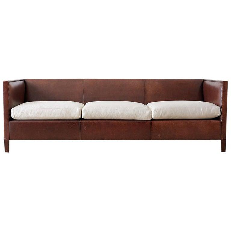 Modernist Leather Three-Seat Case Sofa
