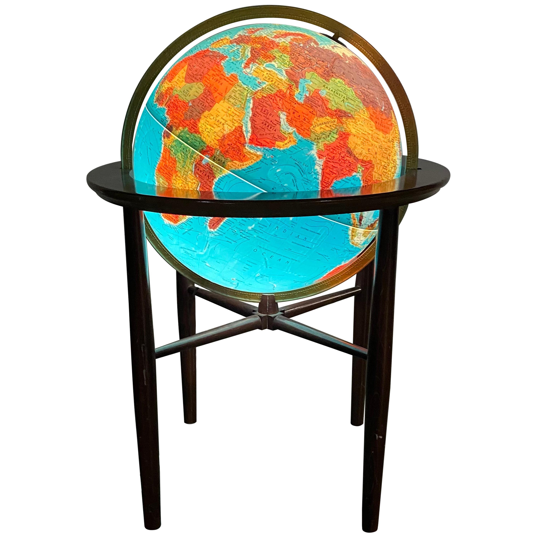 Modernist Lighted World Globe on Stand Illuminated, Scan Globe a/s Denmark