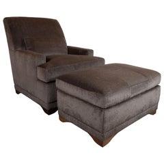 Modernist Lounge Chair & Ottoman in Gauffraged Graphite Cashmere Mohair