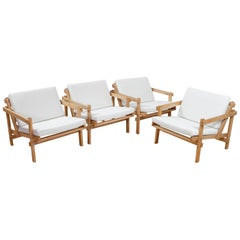 Modernist Lounge Chairs Set of 4 Cleon in Beech and White by Martin Visser 1970s