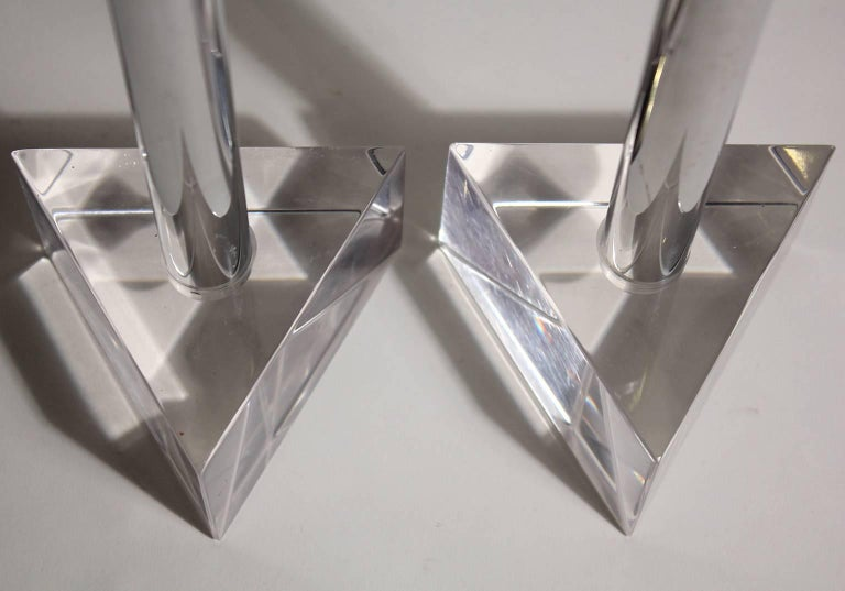 Late 20th Century Modernist Lucite and Chrome Candlesticks in the Manner of Charles Hollis Jones For Sale