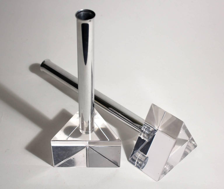 Modernist Lucite and Chrome Candlesticks in the Manner of Charles Hollis Jones For Sale 1