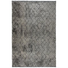 Modernist Luxury Tonal Gray Op-Art Design Rug in Stock