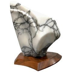 Modernist Mable Sculpture on Walnut Plinth Base