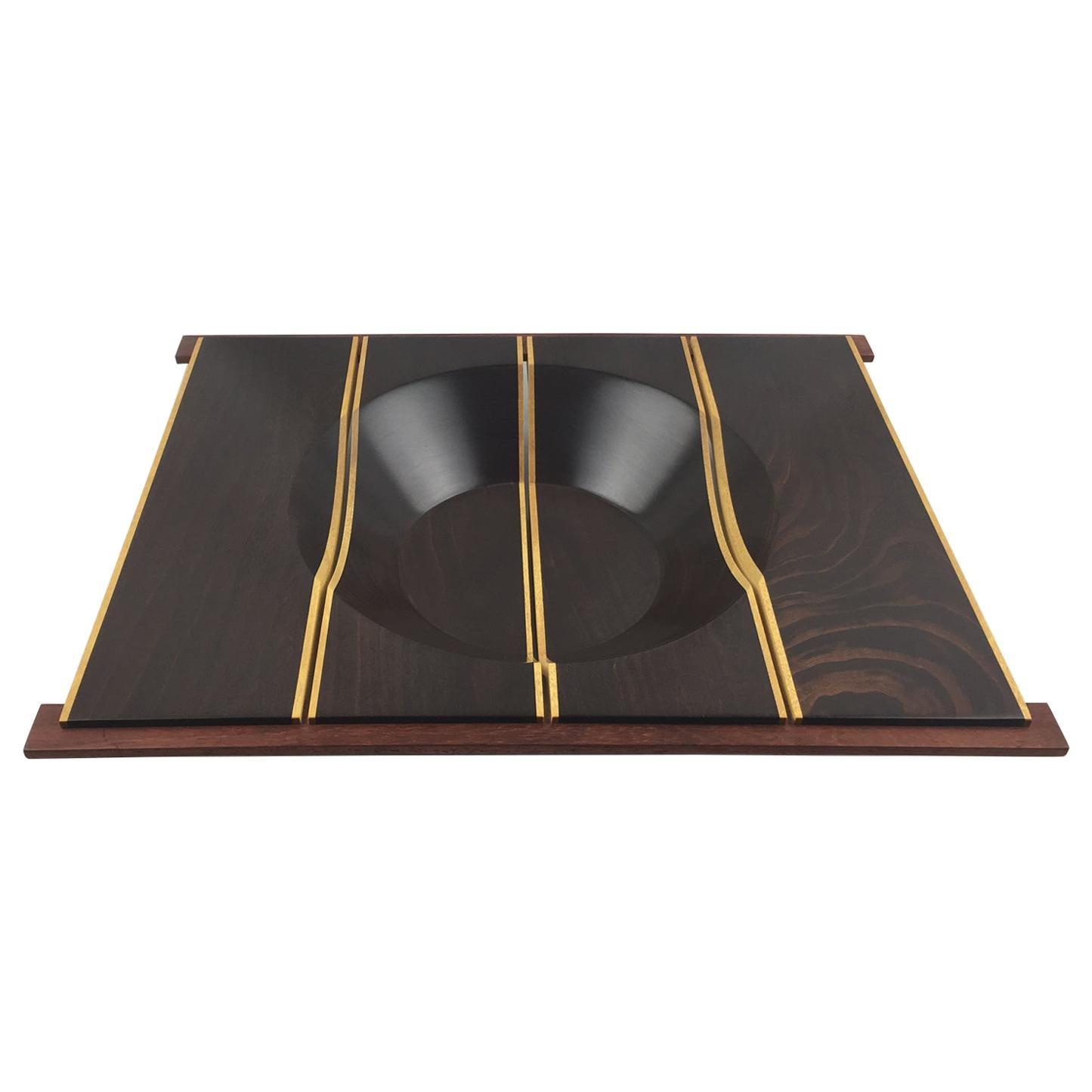 Modernist Macassar Wood Geometric Bowl Centerpiece