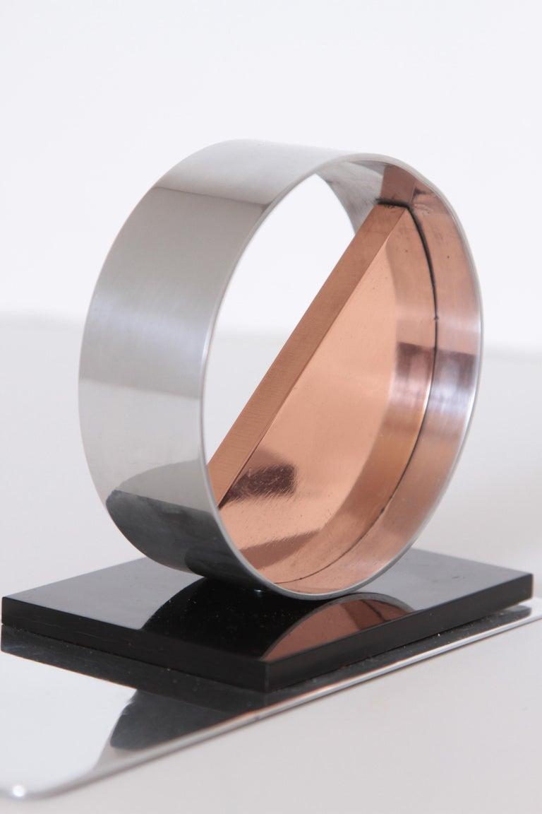 Modernist Machine Age Art Deco Sculptures / Bookends Pair Copper Chrome Bakelite For Sale 5