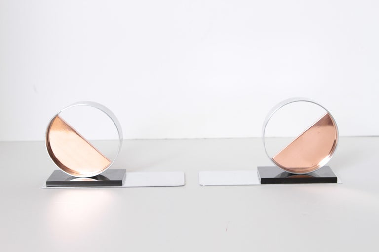 Modernist Machine Age Art Deco sculptures / bookends pair copper chrome Bakelite Catalin.