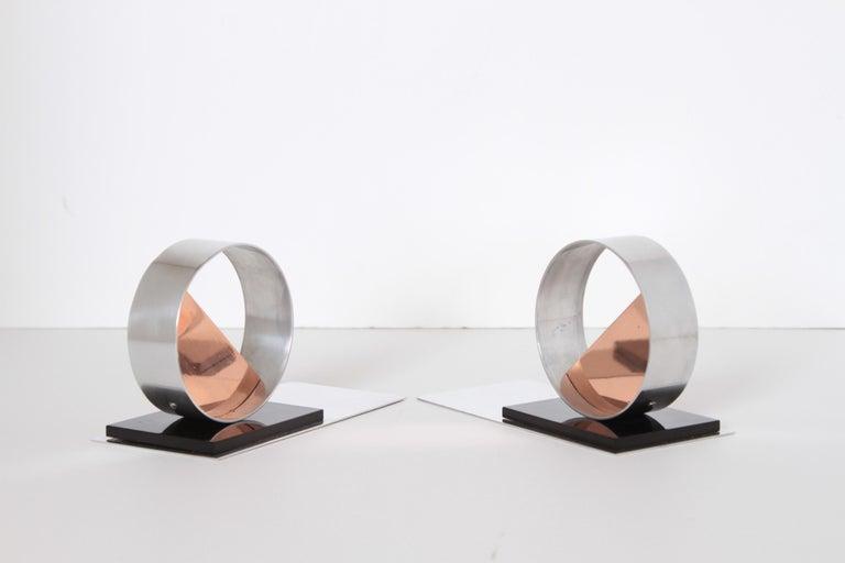 Modernist Machine Age Art Deco Sculptures / Bookends Pair Copper Chrome Bakelite For Sale 1