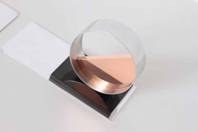 Modernist Machine Age Art Deco Sculptures / Bookends Pair Copper Chrome Bakelite For Sale 2