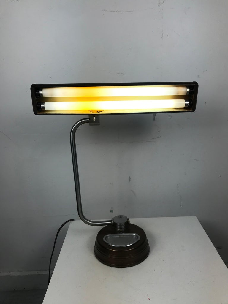 Modernist, Machine Age Stainless Steel / Metal Industrial Desk Lamp, Art Deco For Sale 5