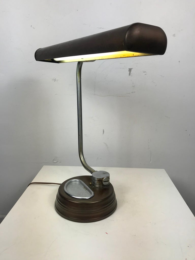 Modernist, Machine Age Stainless Steel / Metal Industrial Desk Lamp, Art Deco For Sale 6