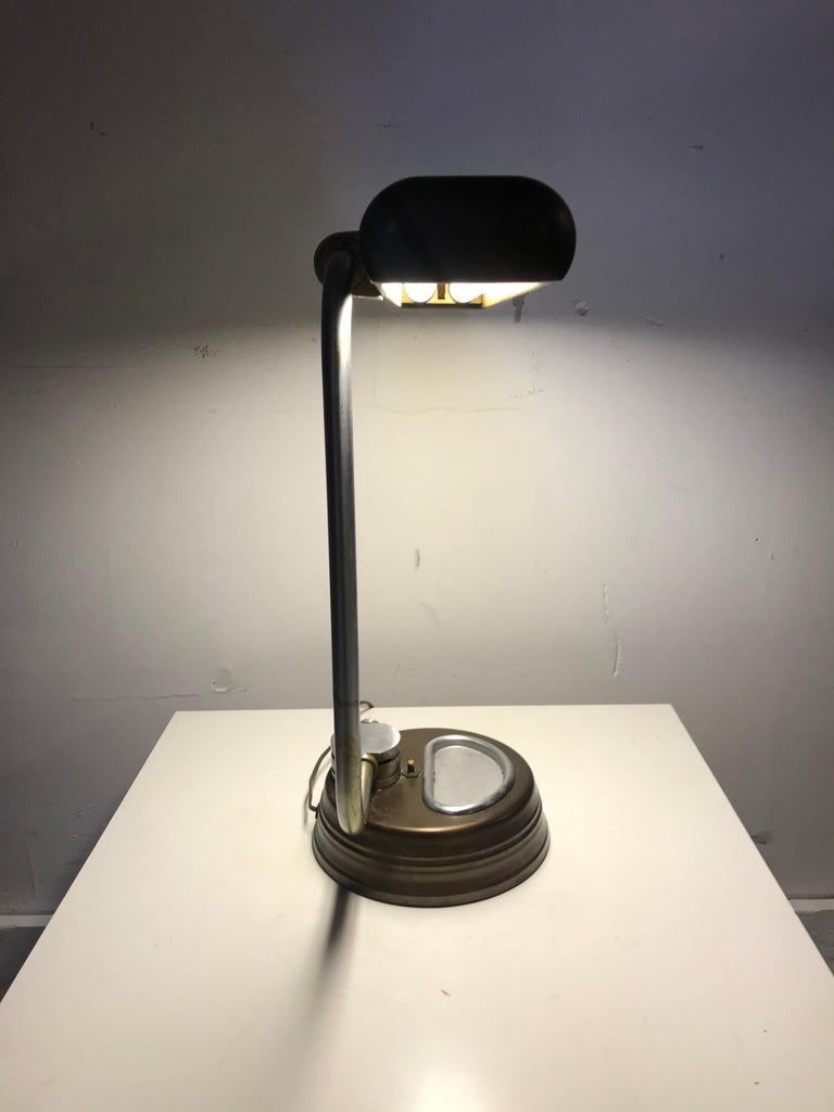 Modernist, Machine Age Stainless Steel / Metal Industrial Desk Lamp, Art Deco For Sale 8