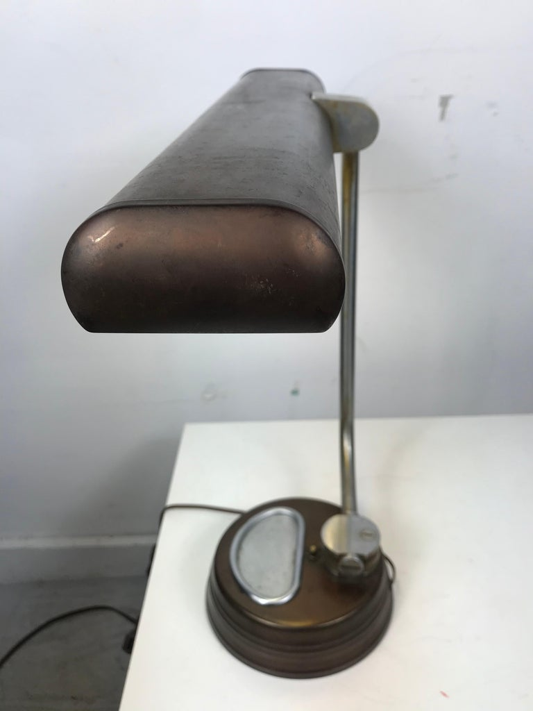 American Modernist, Machine Age Stainless Steel / Metal Industrial Desk Lamp, Art Deco For Sale