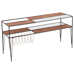 Modernist Magazine Rack or Side Coffee Table in Metal, Wood and Glass, US 1950s