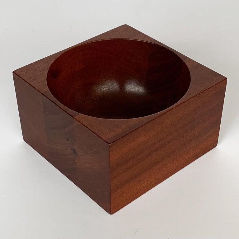 Modernist Mahogany Bowl by John Sage For Sale 3