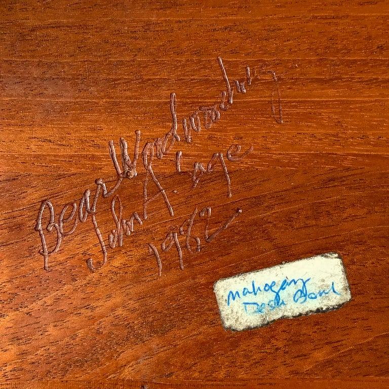 Modernist Mahogany Bowl by John Sage For Sale 8