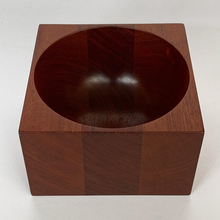 Late 20th Century Modernist Mahogany Bowl by John Sage For Sale