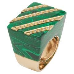 Modernist Malachite Diamonds 14 Karat Yellow Gold Cocktail Ring