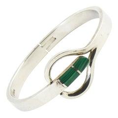 Modernist Malachite Sterling Silver Bangle Bracelet